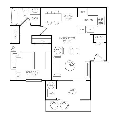 Floor Plan  El Paseo Apartments Floor Plan B