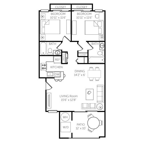 Floor Plan  El Paseo Apartments Floor Plan F