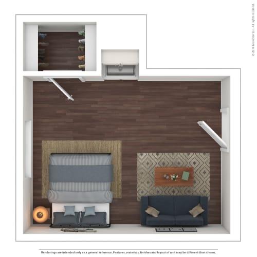 Floor Plan  The Westlyn Apartment Homes Efficiency Studio 3D Furnished Floor Plan