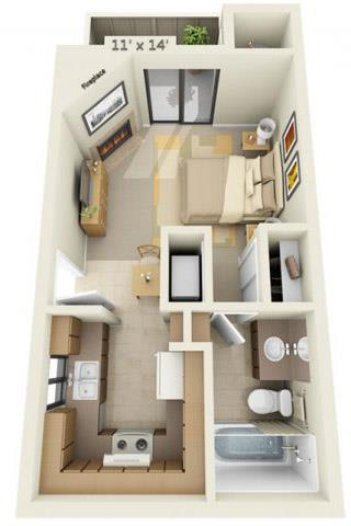 Floor Plan  Sierra Glen Studio 0x1 Floor Plan 420 Square Feet