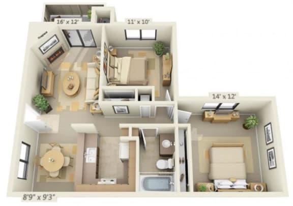 Floor Plan  Sierra Glen 2x1 Floor Plan 932 Square Feet