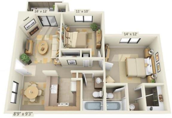 Floor Plan  Sierra Glen 2x2 Floor Plan 932 Square Feet