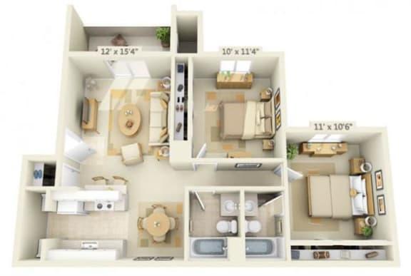 Floor Plan  Sunset Summit Apartment Mt. Rainier 2x2 Floor Plan 877 Square Feet