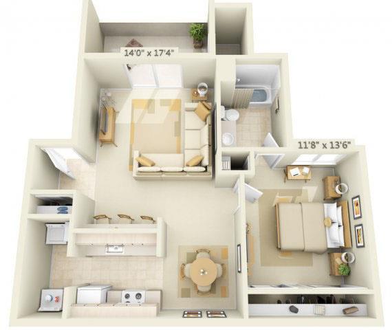 Floor Plan  Sunset Summit Apartment Mt. Shasta 1x1 Floor Plan 802 Square Feet