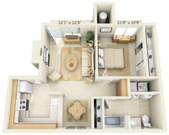 Floor Plan  Canterbury Downs Apartments 1x1 645 Floor Plan 645 Square Feet