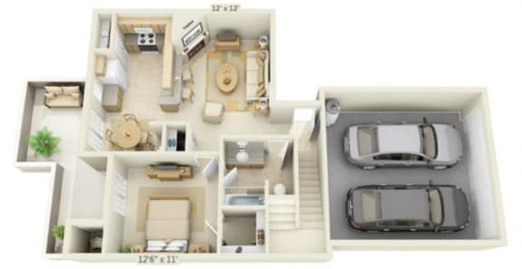 Floor Plan  Stoneridge Apartments Alabaster 3x2 Floor Plan 1276 Square Feet