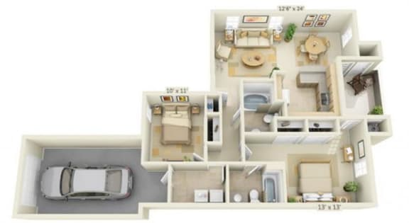 Floor Plan  Stoneridge Apartments Bluestone 2x2 Floor Plan 994 Square Feet