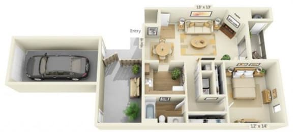 Floor Plan  Delta Pointe Apartments The Ketch 1x1 Floor Plan 770 Square Feet
