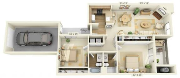 Floor Plan  Delta Pointe Apartments Catamaran 2x2 Floor Plan 1004 Square Fee