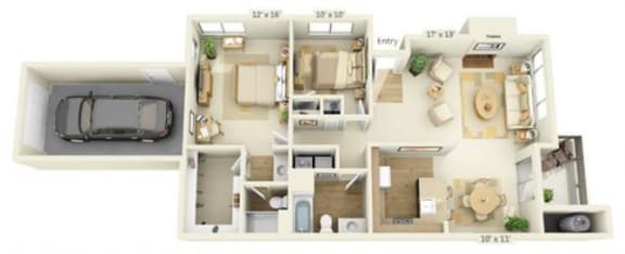 Floor Plan  Delta Pointe Apartments Clipper 2x2 Floor Plan 1119 Square Fee