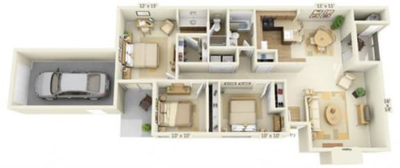 Floor Plan  Delta Pointe Apartments Trimaran 3x2 Floor Plan 1290 Square Fee
