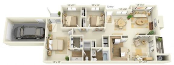 Floor Plan  Delta Pointe Apartments Windjammer 3x2 Floor Plan 1413 Square Fee