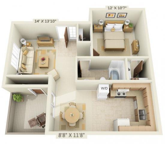 Floor Plan  Woodbridge Apartments 1x1 Floor Plan 655 Square Feet