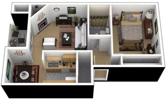 Floor Plan  Hunt Club Apartments 1x1 Jr. Floor Plan 580 Square Feet