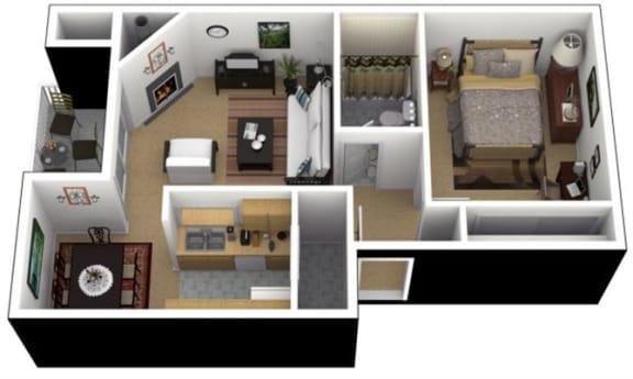 Floor Plan  Hunt Club Apartments 1x1 Lrg. Floor Plan 637 Square Feet