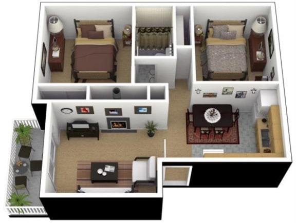 Floor Plan  Hunt Club Apartments 2x1 Floor Plan 788 Square Feet