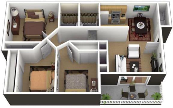 Floor Plan  Hunt Club Apartments 3x2 Floor Plan 1013 Square Feet