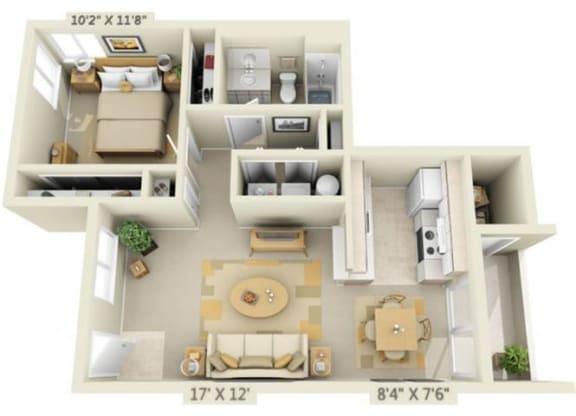 Floor Plan  Creekside Village Apartments 1x1 Floor Plan 719 Square Feet