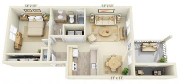 Floor Plan  Stillwater Apartments 1x1 Floor Plan 696 Square Feet
