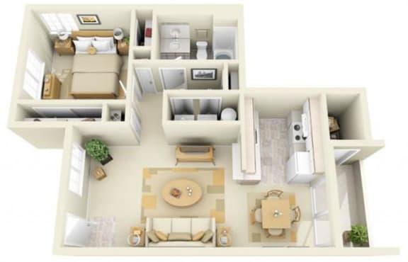Floor Plan  Hathaway Court 1x1 Floor Plan 699 Square Feet