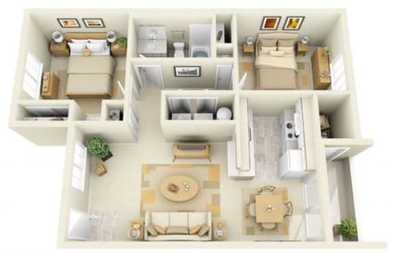 Floor Plan  Hathaway Court 2x1 Floor Plan 821 Square Feet