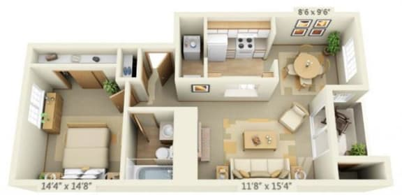 Floor Plan  Maple Pointe Apartments Full Moon Maple 1x1 Floor Plan 666 Square Feet