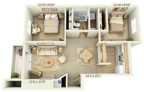 Floor Plan  Maple Pointe Apartments Silver Maple 2x1 Floor Plan 837 Square Feet