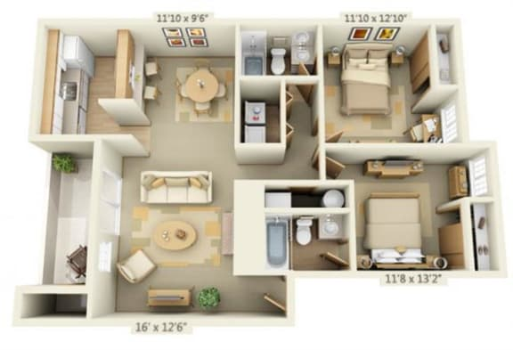 Floor Plan  Maple Pointe Apartments Coliseum Maple 2x2 Floor Plan 946 Square Feet