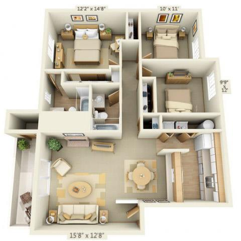 Floor Plan  Maple Pointe Apartments Three Flower Maple 3x2 Floor Plan 1097 Square Feet