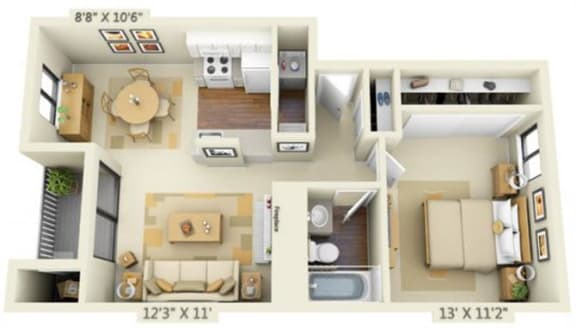 Floor Plan  Pembrooke Apartments Pike 1x1 Floor Plan 636 Square Feet