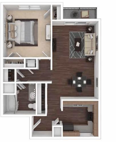 Floor Plan  Princeton Parc 1 bedroom Floorplan