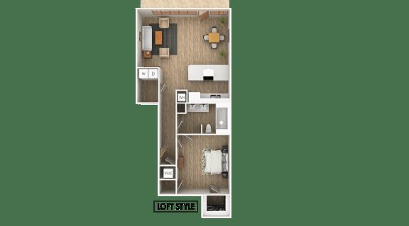 Floor Plan  Loft - A 1 Bedroom 1 Bathroom Floor Plan at The Point At Westside, Georgia