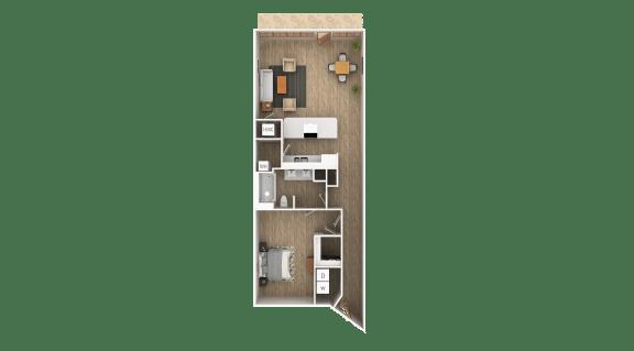 Floor Plan  Loft - C 1 Bedroom 1 Bathroom Floor Plan at The Point At Westside, Atlanta, GA, 30318