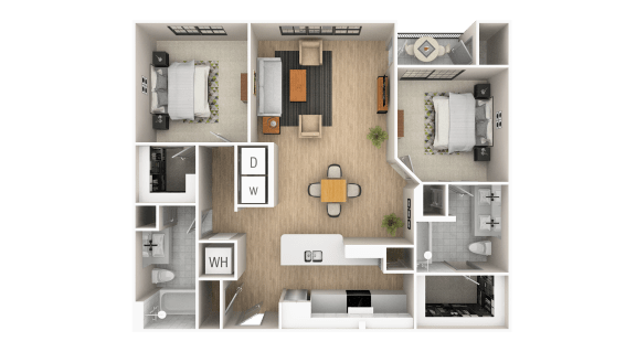 Floor Plan  Peachtree - A 2 Bed 2 Bath Floor Plan at The Point At Westside, Atlanta, 30318