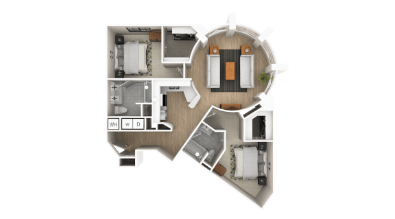 Floor Plan  B6 - Skyview 2 Bed 2 Bath Floor Plan at The Point At Westside, Georgia, 30318