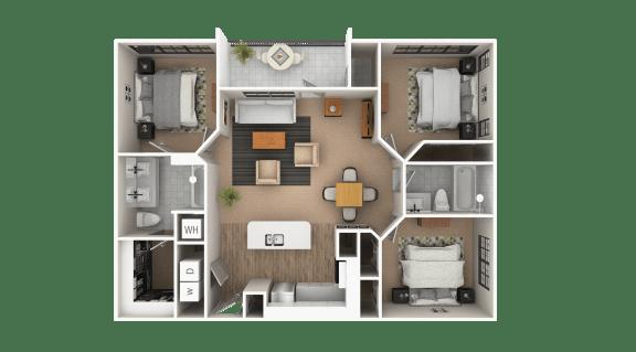 Floor Plan  Piedmont 3 bedroom 2 bath Floor Plan at The Point At Westside, Atlanta, GA