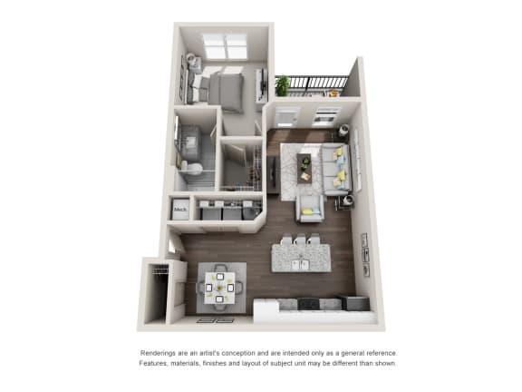 Floor Plan  Derbyshire 1 Bed 1 Bath Floor Plan at Tomoka Pointe, Florida, 32117