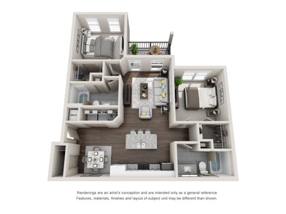 Floor Plan  Mangrove 2 Bedroom 2 Bathroom Floor Plan at Tomoka Pointe, Daytona Beach
