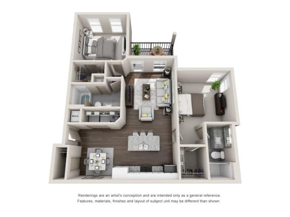 Floor Plan  Conrad 2 Bedroom 2 Bathroom Floor Plan at Tomoka Pointe, Florida, 32117