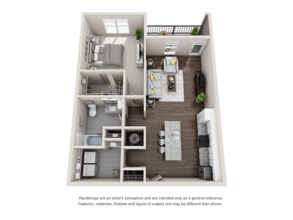 Floor Plan  Tuscawilla 1 Bedroom 1 Bathroom Floor Plan at Tomoka Pointe, Daytona Beach, FL, 32117