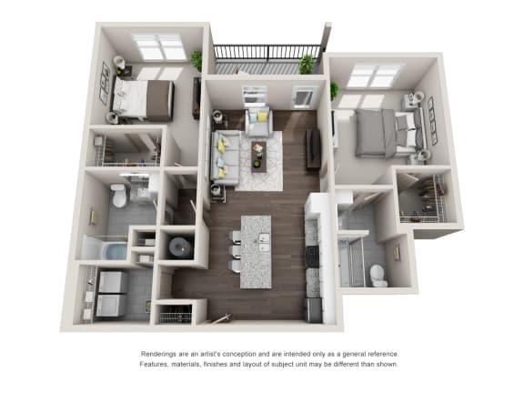 Floor Plan  Halifax 2 Bedroom 2 Bathroom Floor Plan at Tomoka Pointe, Daytona Beach, Florida