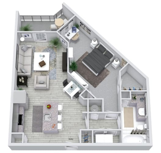 Floor Plan  1 bed 1 bath floorplan, at NorthPointe, South Carolina