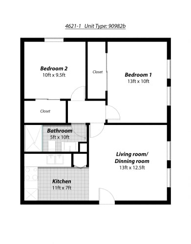 Floor Plan  2 Bedroom + 1 Bath