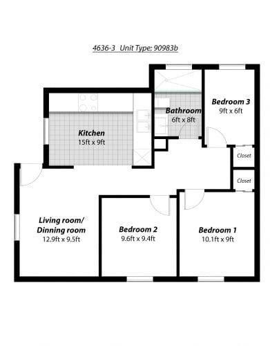 Floor Plan  3 Bedroom + 1 Bath