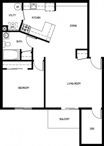 Floor Plan  One Bedroom Large With Den