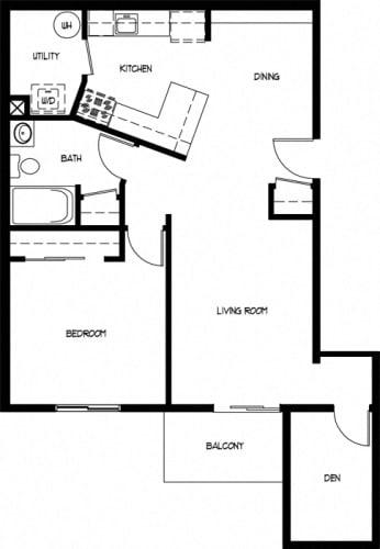 Floor Plan  One Bedroom With Den