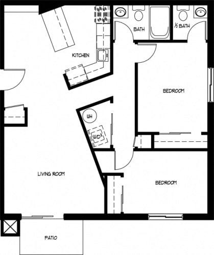 Floor Plan  Two Bedroom 1.5 Bath A
