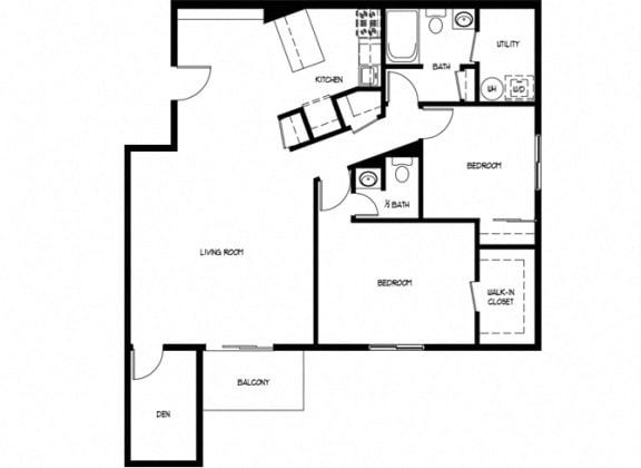 Floor Plan  Two Bedroom 1.5 Bath D With Den