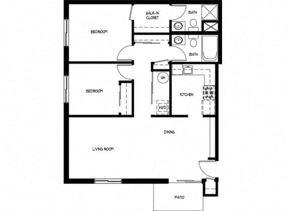 Floor Plan  Two Bedroom 2 Bath A