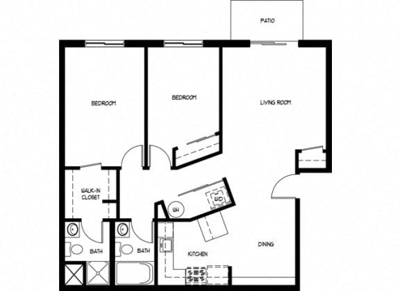 Floor Plan  Two Bedroom 2 Bath B